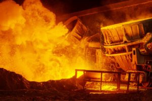 Steel plant pouring molten steel